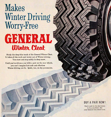 1960 General Snow Tires Winter Cleat - Retro Vintage Auto Advertising Page 1960s