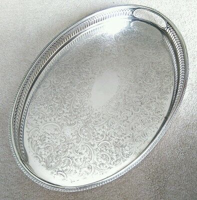 VINTAGE Silver Plated Oval Chased Gallery Tea Drinks Serving Tray with Handles