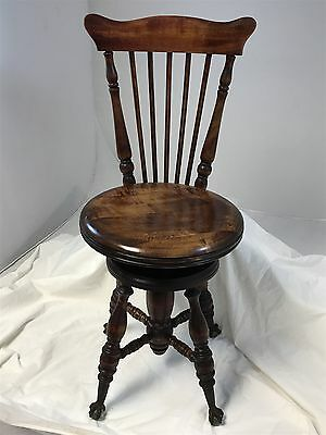 Antique Piano Organ Stool Chair Claw Glass Ball Feet High Chair Back