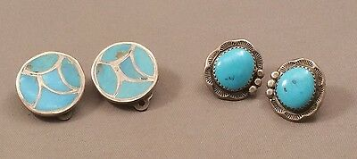 Vntg Blue Natural Turquoise Earrings 2 PRS