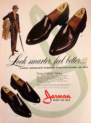 1961 Jarman Mens Shoes Ad  - Retro Vintage Fashion Advertising Page - 1960s 60s