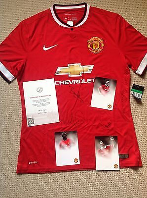 Manchester United Signed Shirt Robson Cole And Irwin With COA From United