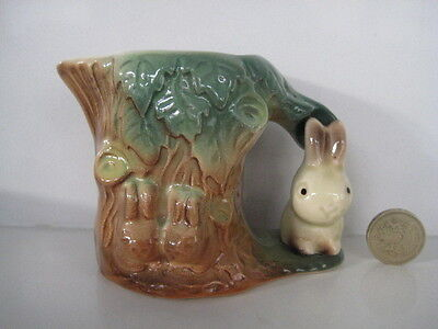 Rare Retro Hornsea Pottery Cream Milk Jug With Figural Snub Nose Bunny Rabbit