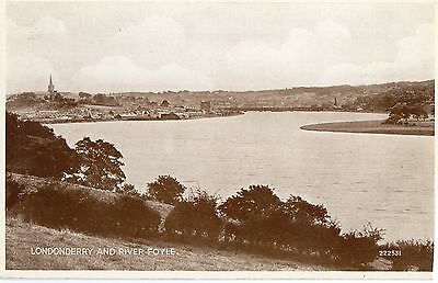 LONDONDERRY AND RIVER FOYLE IRELAND IRISH POSTCARD by VALENTINES No. 222531