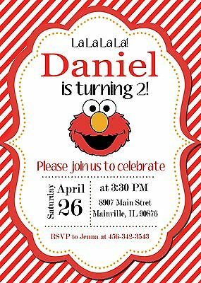 Elmo, Sesame Street, Elmo Invitation, Birthday Party Invitation