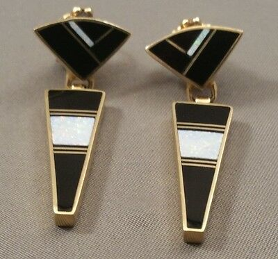 14KT Gold RAY TRACEY Earrings of Onyx and Opal NICE!!