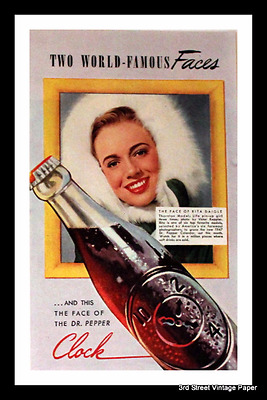 1947 Dr. Pepper Ad with Model Rita Daigle - Vintage 1940s Soda Advertising Page