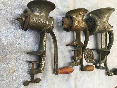 Three Antique Meat Grinders / Food Choppers
