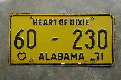 1971 Alabama Heart of Dixie License Plate # 60 - 230