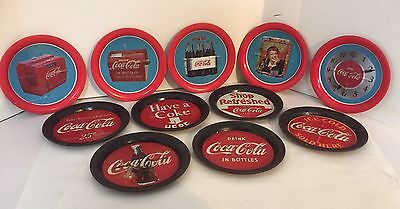 Lot of 11 Shabby Rustic Vintage 1990s Metal Coca-Cola Coasters Red and Black