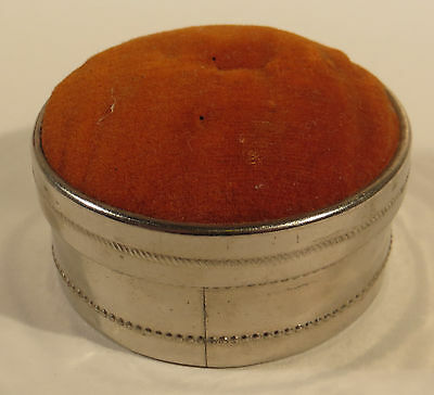 Antique Metal Round Pin Cushion Box Sewing Thread Case Velvet Top Germany
