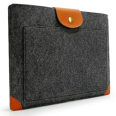 Sinoguo Classic Gray Felt & Leather Case Sleeve Pouch for 13 Inch Macbook Air