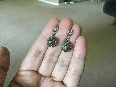 Antique Victorian  ,old cut  diamonds,fine silver ,18ct solid gold   earrings