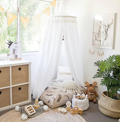 White Kid's Bed Canopy - Play Tent for Reading Nook - Baby Mosquito Net