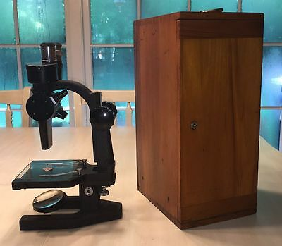 1927 BAUSCH & LOMB John C Sabel Microscope in Wooden Box