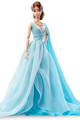 Barbie Silkstone Blue Chiffon Ball Gown OUTFIT ONLY