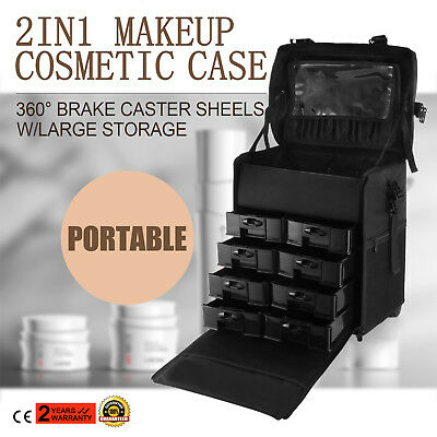 Makeup Storage Box Train Cosmetic Luggage Organizer Rolling Beauty Case Bag