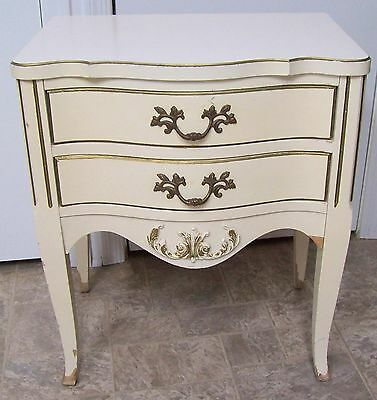 Vntg French Provincial Hollywood Regency Chic Cream Gold Night Stand 2 Drawer