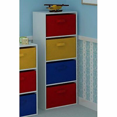 Chest Of Drawers for Kids Bedroom Furniture Playroom Storage Unit Canvas 4-Tier