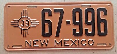 "1939 New Mexico Passenger Auto License Plate "" 67 996 "" Nm 39"