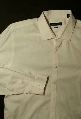 Men's VINCE CAMUTO Dress Shirt White 100% Cotton 17 34/35 SLIM FIT Button Front