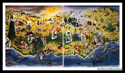 1947 California Color Map - Cartograph - Vintage Travel Illustration - 1940s 40s