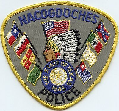 old vintage NACOGDOCHES TEXAS TX indian POLICE PATCH
