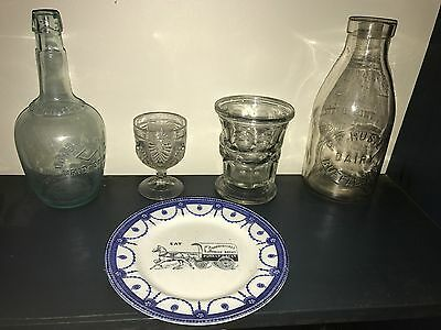 """Antique~1800's Store-Advertising """"Blue-Willow"""" Plate! Staffordshire~Buggy~Nice!!"""