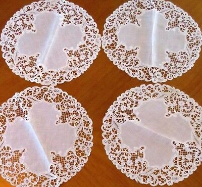 "Antique Placemats Doilies Linen Lace Handmade 11"" Cream Table Centerpiece 4 pc"
