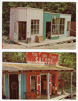 2 Ed's Ghost Town near Bedford Indiana old postcards Hwy 50 roadside IN