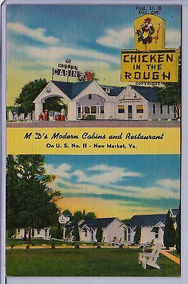 MD's Cabins & Restaurant New Market VA area Chicken in the Rough linen postcard