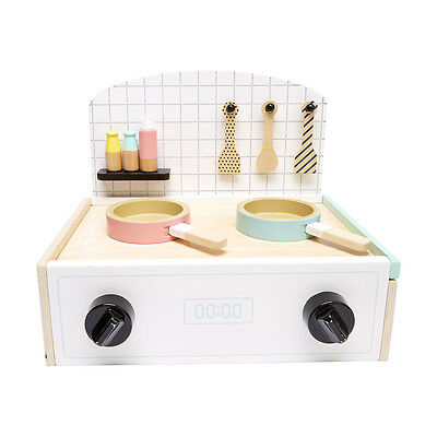 Kids Childrens Wooden Toy Kitchen Stove Top + Accessories Gift Set New