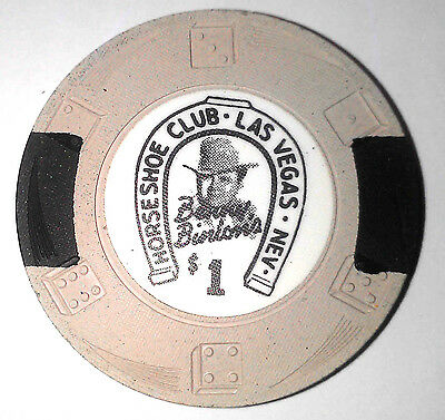 Binions Horseshoe Obsolete $1 White/Black Dieswirl mold casino chip