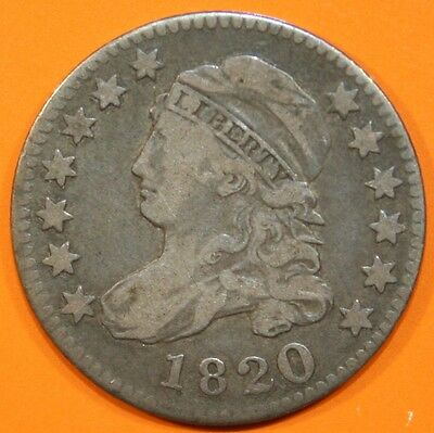 1820 Bust Dime, large 0, nice look