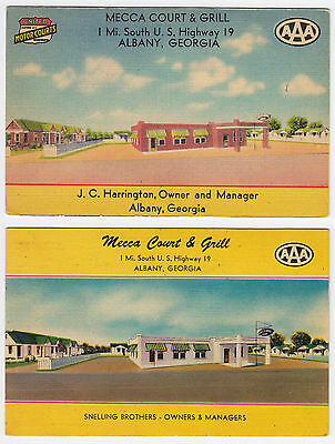 2 different Albany Georga Mecca Court & Grill linen advertising postcards GA