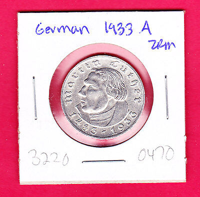 Germany, Third Reich 2 Reichsmark, 1933, 450th anniversary of the birth of Marti