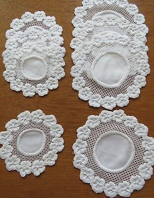 Doilies Embroidered White Antique Vintage Doily Cocktail Goblet Coasters 8 pc