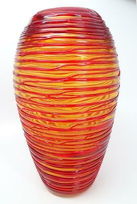 """Vintage 11"""" Hand Blown Yellow Art Glass Vase w/ Applied Red Threading"""