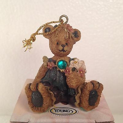 Berry Hill Bears May Birthstone Ornament Young Co # 31404 Christmas NIB Flowers