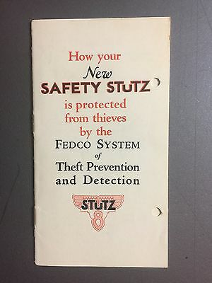 """1926 Stutz """"New Safety Stutz"""" Showroom Advertising Brochure RARE!! Awesome L@@K"""