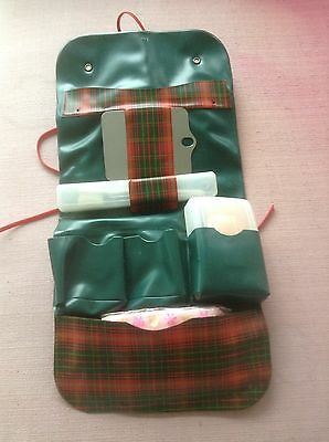 Vintage Plaid Girl Scout Toiletry Kit Pouch Toothbrush Mirror Soap Kleenex Camp
