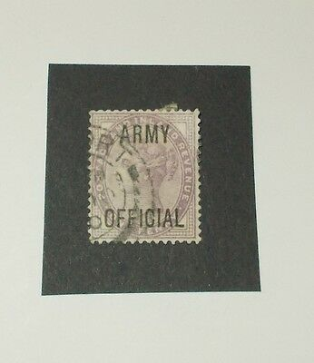Stamp GB Official Overprint - 1d Lilac. Queen Victoria.. ARMY OFFICIAL