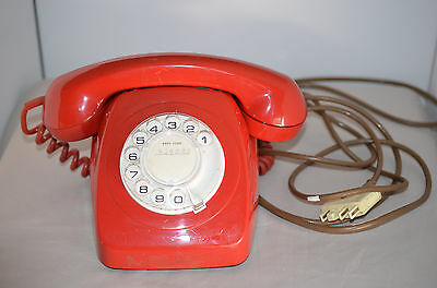Vintage Red Telecom Rotary Dial Telephone Phone