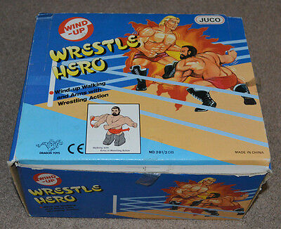 Vtg BOX OF 12 Wrestle Hero Dragon Toys Wind Up Figures Juco WWF WCW AWA WWE