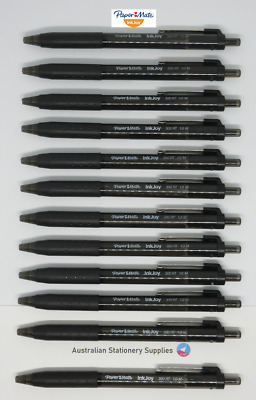 12 x BLACK Papermate Inkjoy 300 Retractable Ballpoint Pen Medium Free Post