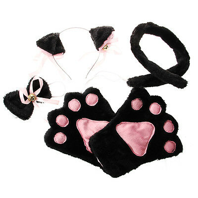 Black Pink Cat Cosplay Set Paw Claw Gloves Ear Hairclip Tail Bow Tie C1E5