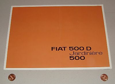 Vintage 1960-1965 Fiat 500 D Jardiniere Fold-Out Sales Brochure French Edition