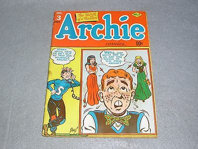 RARE Archie Comics No. 3 Summer 1943 1st First Edition COMPLETE FAIR CONDITION