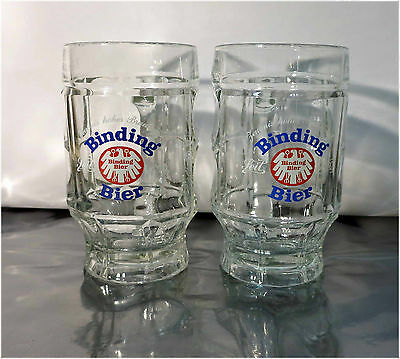 2 x Vintage, German 0.4L Beer Glasses, Binding Bier