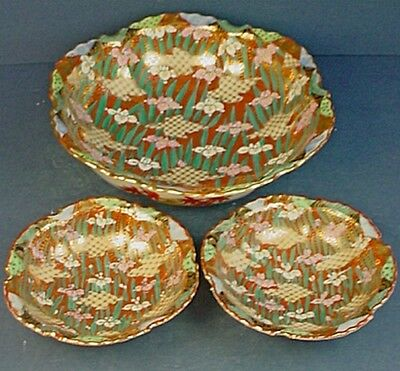 Large Vintage Japanese Porcelain Bowl & Two Matching Small Bowls